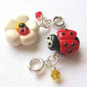 Ladybug Charm Set of Two Friendship Charms