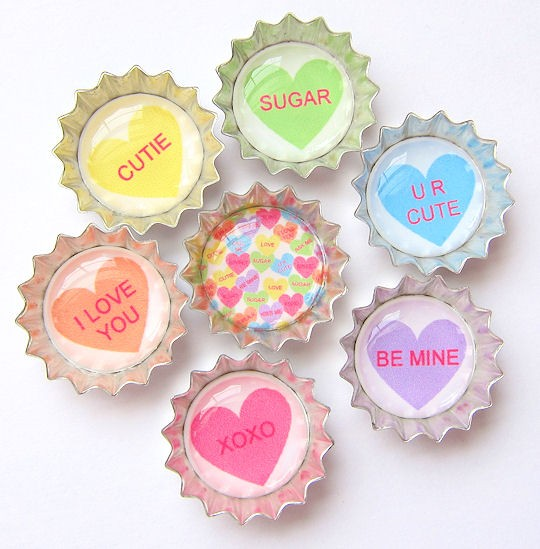 Mini Bottle Cap Necklace Valentine's Day Conversation Hearts