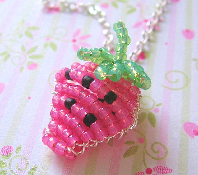 Pink Strawberry Beaded Charm Necklace