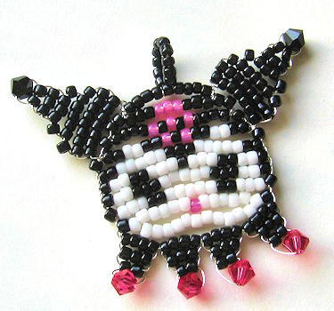 Beaded Kuromi Pendant Mascot Charm Necklace